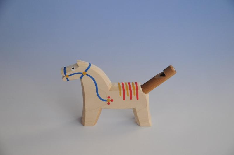 画像1: 馬の笛 青 チェコ ウッドクラフト 手作り おもちゃ プレゼント (1)