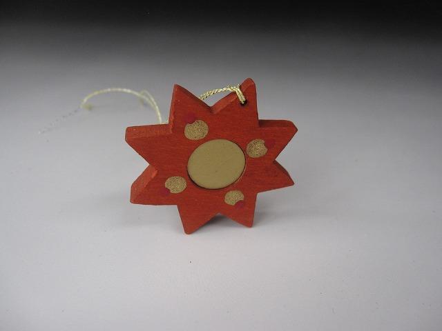 画像1: チェコ おもちゃ クリスマス オーナメント ウッドクラフト 星 赤 (1)