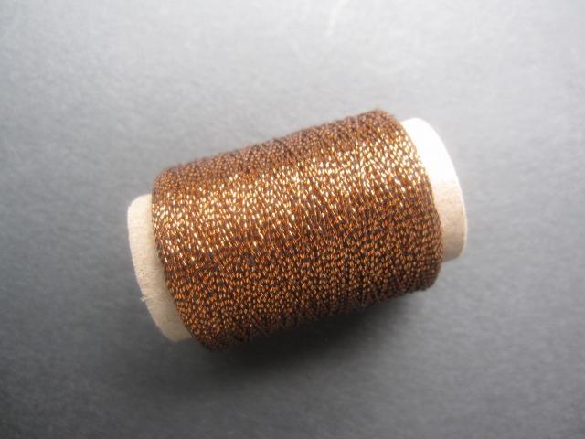 画像1: ボビンレース 糸 ラメ糸 (黒銅)   (1)