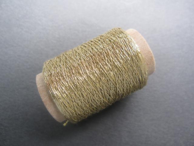 画像1: ボビンレース 糸 ラメ糸 (金) (1)